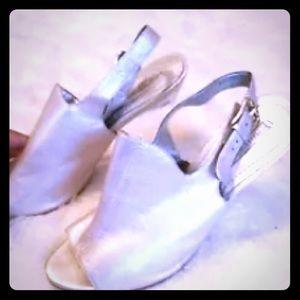 Metallic Silver Peep Toe Lucite Wedge Heels 😻